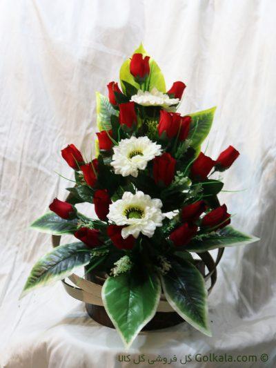 سبد گل رز زیبا, گل رز قرمز و مارگریت, گل کالا