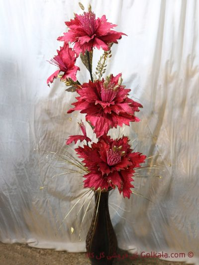 گلدان گل ختمی صورتی