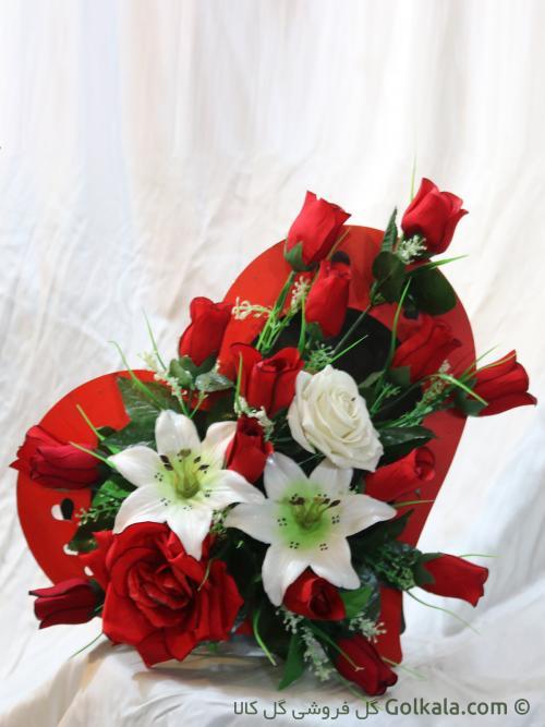 سبد گل رز و لیلیوم سفید - گل کالا - عکس گل