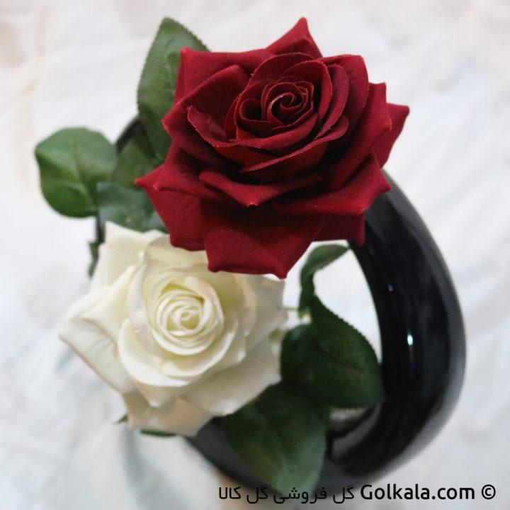 گلدان حلقه ای رز - گل رز زیبا مشکی سفید صورتی