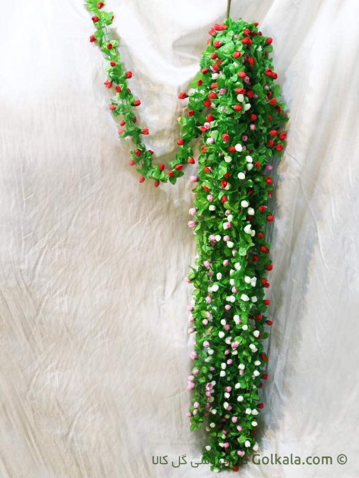 ریسه گل بهاری با گل های سفید صورتی قرمز