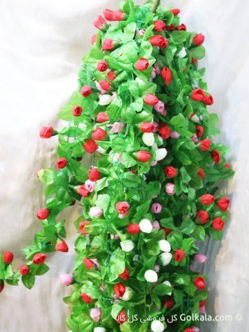 ریسه گل بهاری بلند با گل های سفید, صورتی و قرمز