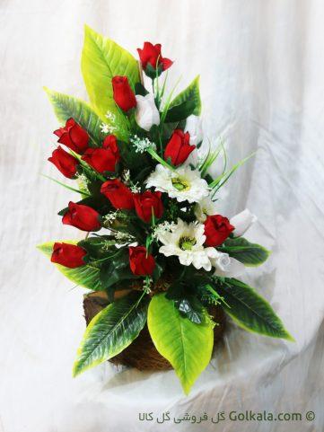 سبد گل غنچه رز و ماگریت سفید