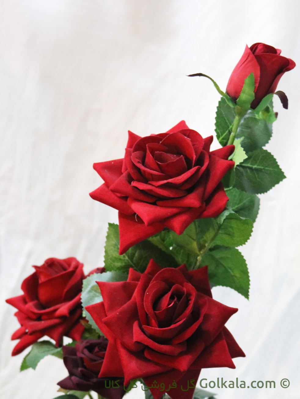 گل رز قرمز - گلدان گل رز سرخ لمسی