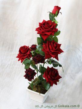 گلدان گل رز سرخ لمسی
