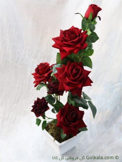 گل رز سرخ لمسی - گلدان گل رز قرمز