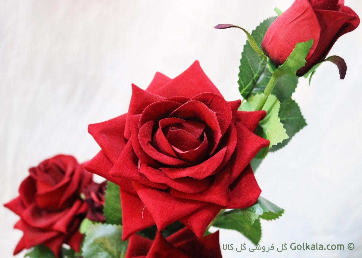 گلدان گل رز سرخ لمسی - رز قرمز