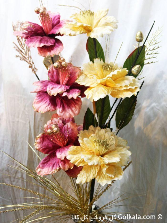 گلدان گل ختمی آسیایی زرد و بنفش