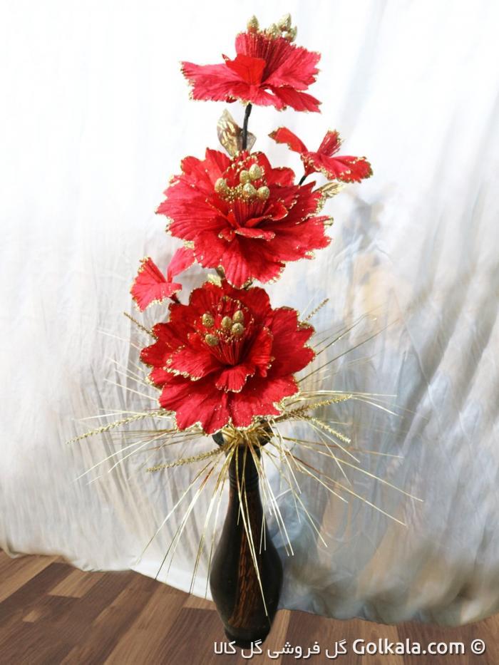 گلدان گل ختمی قرمز