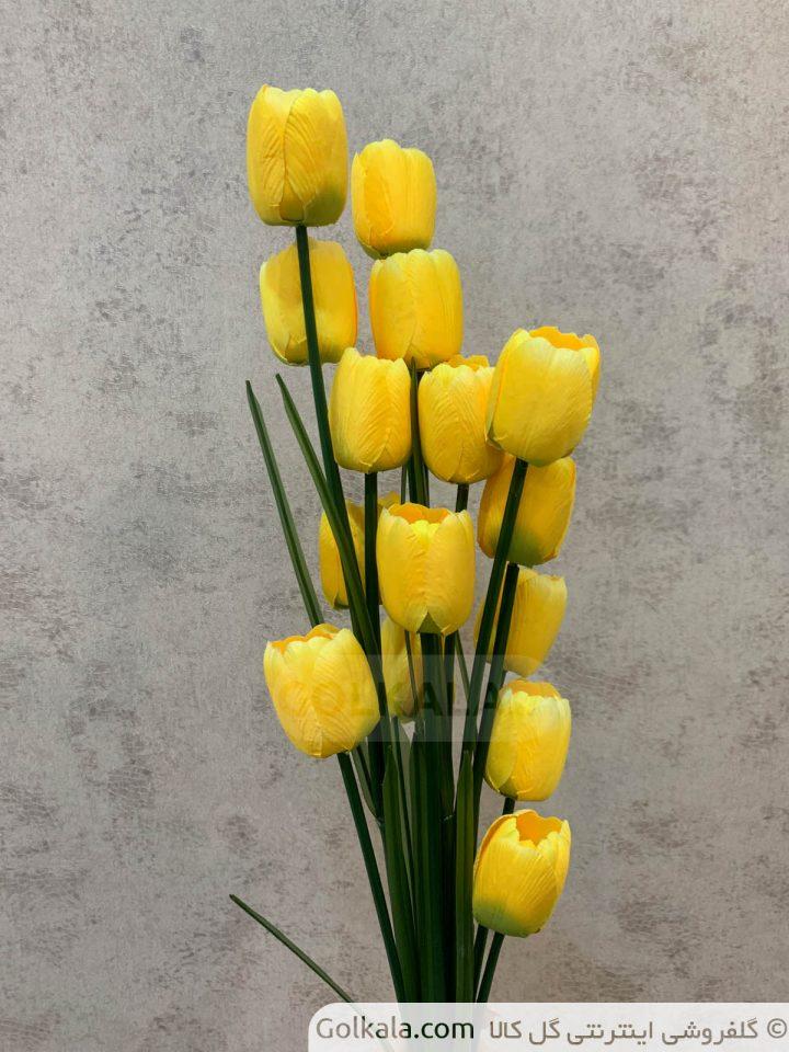 شاخه گل لاله زرد چندتایی گل کالا