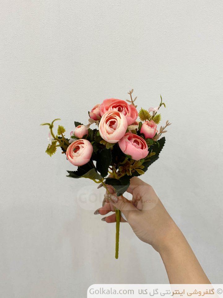 گل پئونی سفید صورتی مصنوعی گل کالا