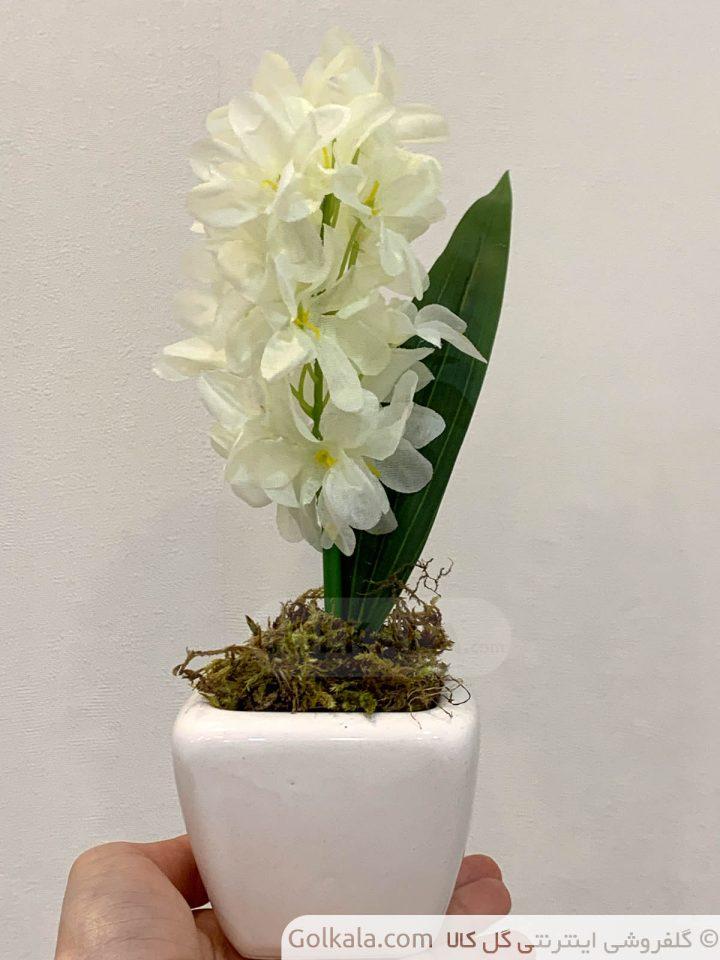 گلدان سنبل متوسط سفید گل کالا